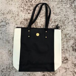 NEW Joy Mangano Leather Tote Black & White